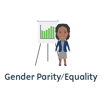 Gender parity/equality represented by showing a black woman standing in front of a chart