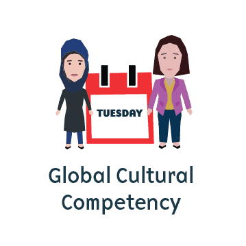 Icon representing global cultural competency featuring two women of different cultures